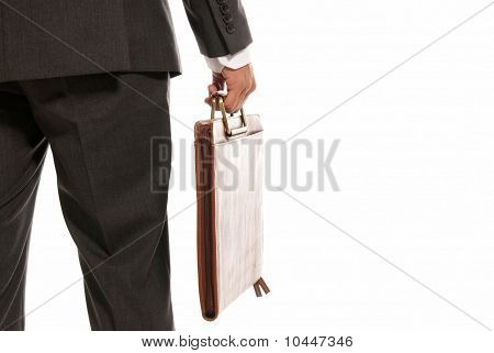 Unrecognizable Businessman Back With Suitcase Copy-space Isolated On White Background