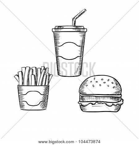 Hamburger, french fries and soda cup
