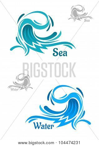 Powerful blue ocean wave icons
