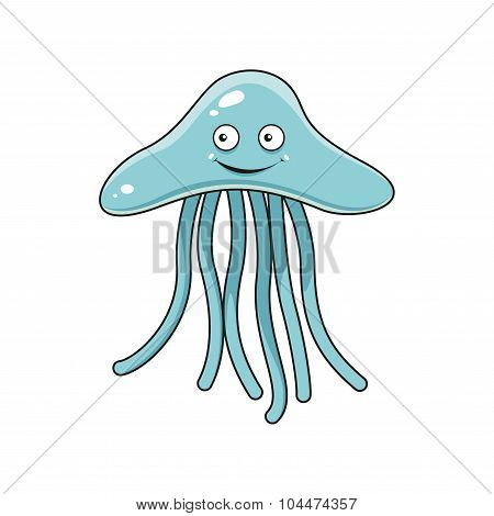 Cartoon blue jellyfish with long tentacles