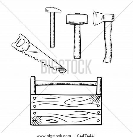 Sketches of toolbox and carpentry tools