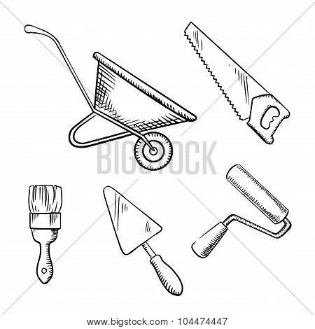Saw, trowel, wheelbarrow, paint brush and roller