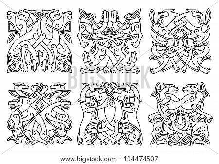 Celtic outline entwined mystical animals