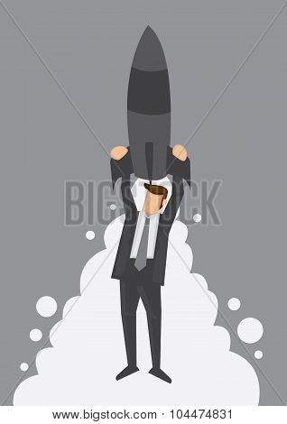 Rocket Up To The Top Metaphor Vector Illustration
