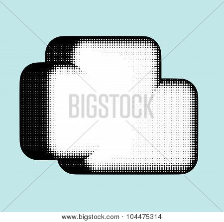 Cloud Shape In Halftone Black And White Over Blue