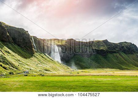 Beautiful And Famous Seljalandsfoss Waterfall, Iceland