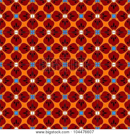 Mexican stylized talavera tiles seamless pattern in blue and red, vector