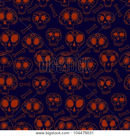 Cartoon skulls in blue and orange, halloween seamless pattern, vector