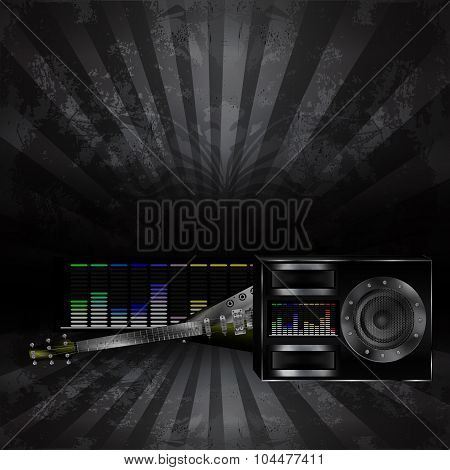 musical background with a guitar and a speaker 2