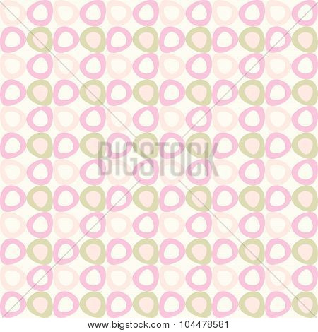 seamles pattern with pink and olive ovals.
