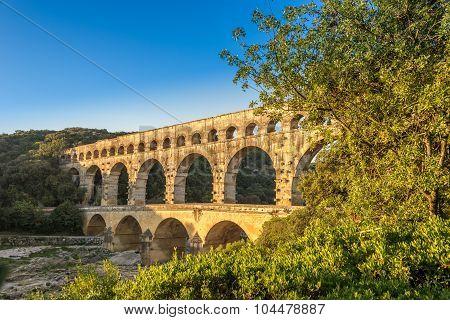Bridge Pont Du Gard Over Gardon River
