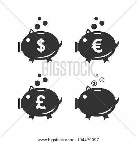 Piggy bank icons. Dollar, Euro, Pound moneybox.
