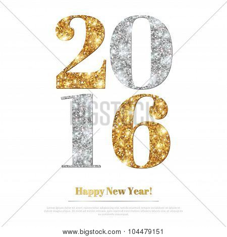 Happy New Year Greeting Card with Gold and Silver Numbers.
