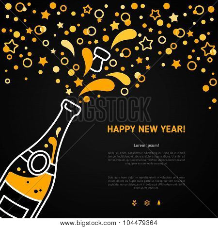 Happy New Year greeting card with champagne explosion bottle