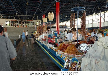 Dried Fruits, Sweets And Churchkhela In The Bazaar Of Yerevan Market, Armenia