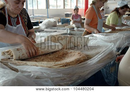Traditional Armenian Bread In The Bazaar Of Yerevan Market, Armenia