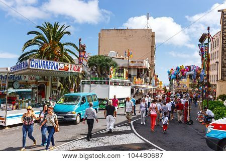La Orotava, Tenerife, Spain - June 11, 2015: Unidentified Tourists Walking In Historic Town La Orota