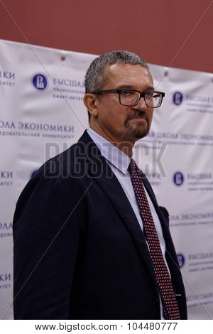 ST. PETERSBURG, RUSSIA - SEPTEMBER 3, 2015: Director of St. Petersburg Campus Sergey Kadochnikov during the ceremony of opening the new academic building of the Higher School of Economics