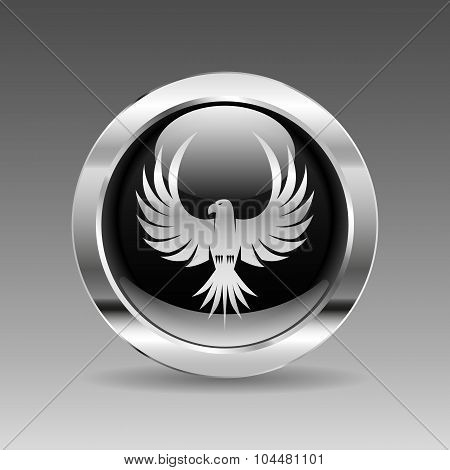 Black Glossy Chrome Button - Flying Eagle