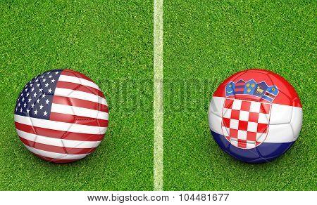 Team balls for United States vs Croatia soccer tournament match