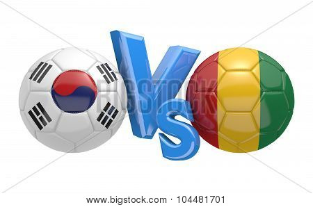 Soccer versus match between national teams South Korea and Guinea