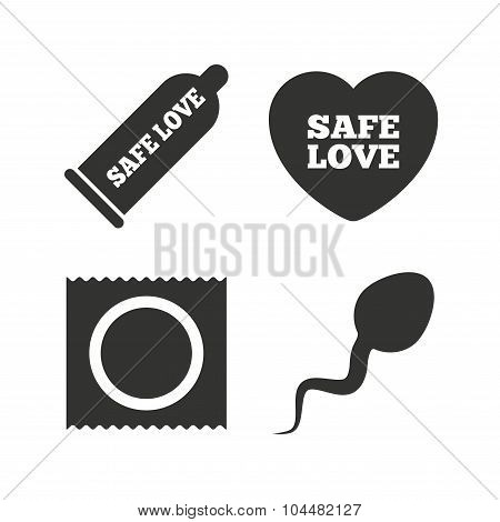 Safe sex love icons. Condom in package symbols.