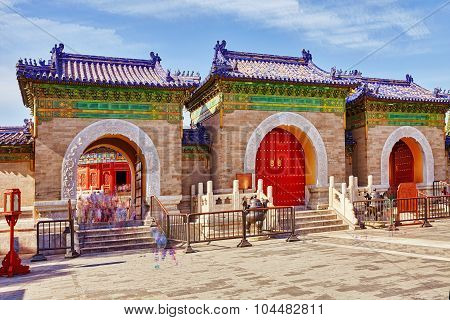 Pagodas, Pavilions Within The Complex Of The Temple Of Heaven In Beijing.the Echo Wall.