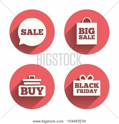 Sale speech bubble icons. Buy cart symbol