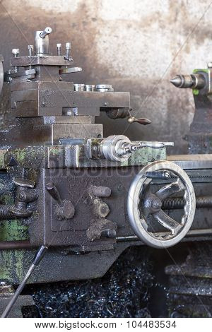 Old Lathe In The Workshop