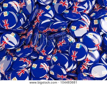 Background With Round Pins With Flag Of Anguilla
