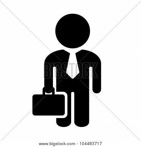 Businessman Simple Icon on White Background. Vector