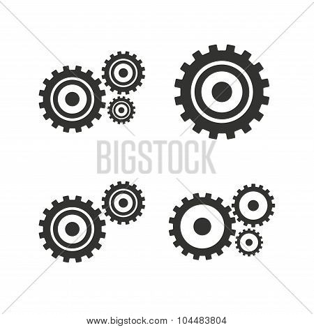Cogwheel gear icons. Mechanism symbol.