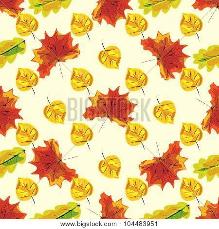 Autumn Leaves Seamless Nature Pattern Background