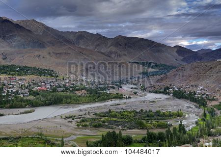 Indus River And Kargil City, Leh, Ladakh, Jammu Kashmir, India