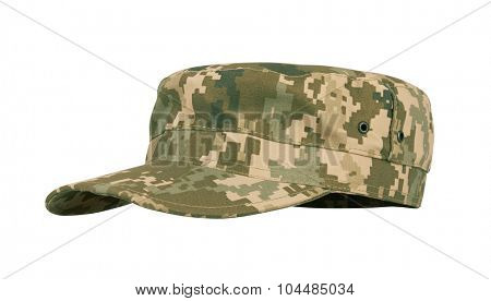 Army camouflaged cap, isolated on white background