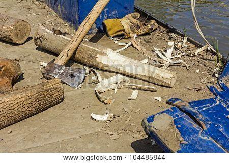 Carpentry Skill With Ax As Main Tool.
