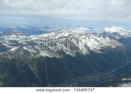 Alps, mountains with snow, Chamonix, Rhone-Alpes