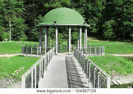 Beautiful park with rotunda and paths in Feofania