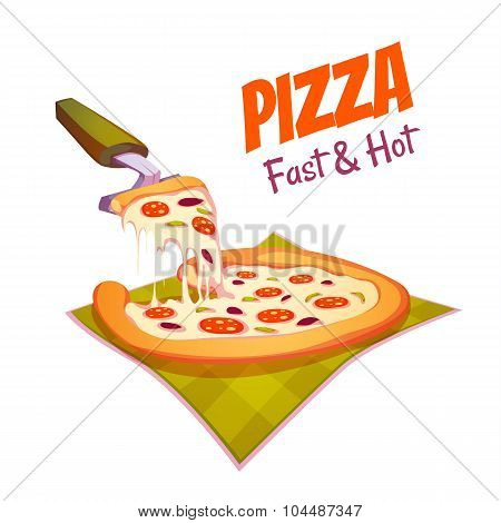 Vector illustration of hot pizza on the cloth