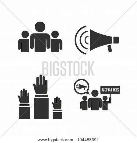 Strike group of people. Megaphone loudspeaker.