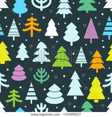 Abstract color christmas trees seamless background. Design elements