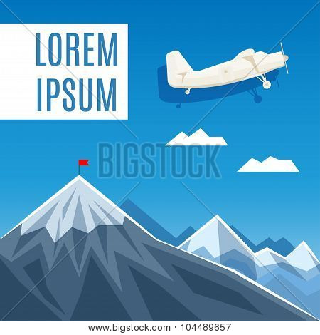 Flag On Mountain Peak, Success Or Business Concept Illustration. Vector Illustration.