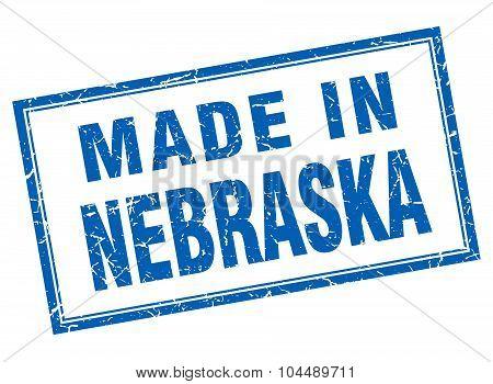 Nebraska Blue Square Grunge Made In Stamp