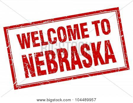 Nebraska Red Square Grunge Welcome Isolated Stamp