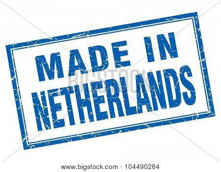 Netherlands Blue Square Grunge Made In Stamp