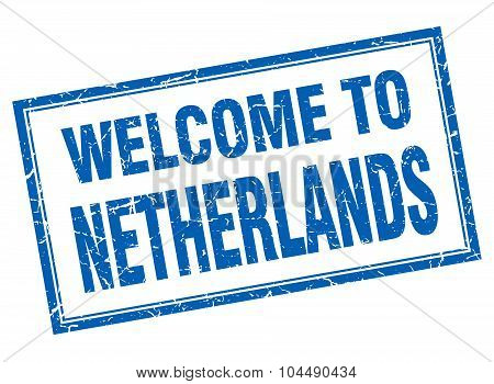 Netherlands Blue Square Grunge Welcome Isolated Stamp