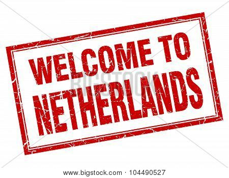 Netherlands Red Square Grunge Welcome Isolated Stamp
