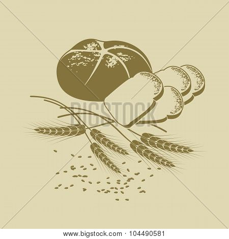 Vector Illustration Of Rye Bread, Toast Bread And Cereals