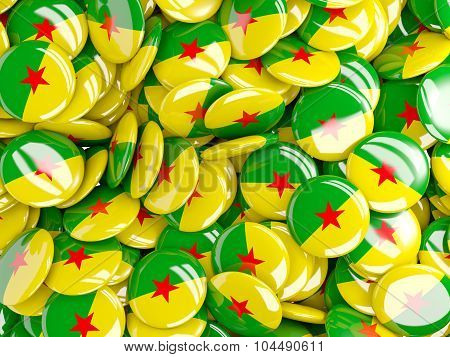 Background With Round Pins With Flag Of French_guiana