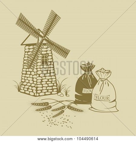 Vector Illustration Of Ears Of Wheat Sacks Of Flour And Windmill